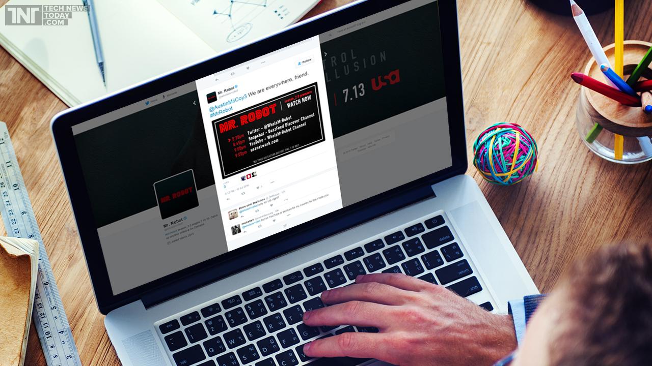 Comunicación de la premiere de la 2T de Mr. Robot en redes sociales. Fuente: Tech News Today