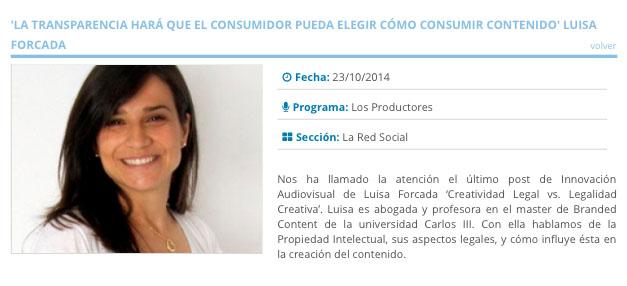 """Entrevista a Luisa Forcada: """"Creatividad legal vs. Legalidad creativa"""""""