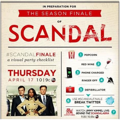 """Llamadas a la acción de la serie de TV """"Scandal"""" para que la audiencia comente el programa en directo."""