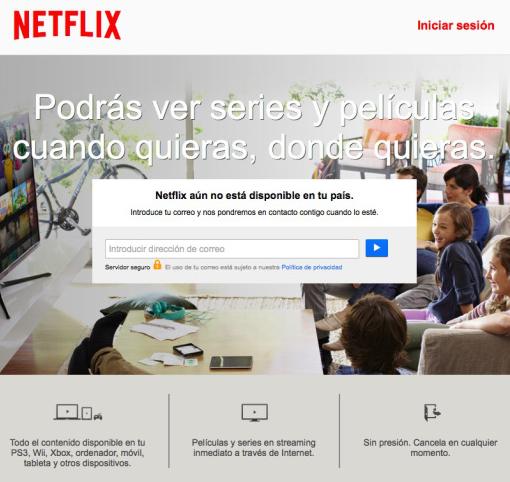 Interfaz de netflix.com accediendo desde IP española