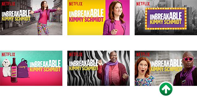 Selección de imágenes vinculadas a la serie Unbreakable Kimmy Schmidt. Destacada con una flecha, la pieza que provocó más engagement.