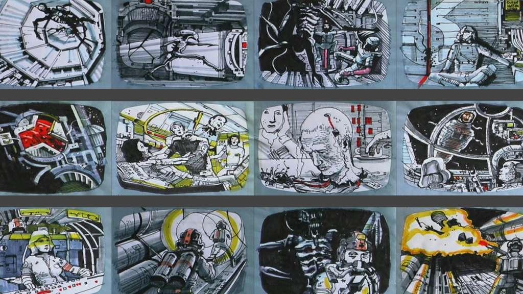 El storyboard de Alien dibujado por el propio Ridley Scott no oculta su devoción por Moebius.